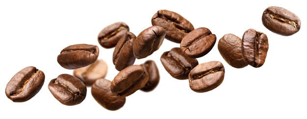 Falling coffee beans isolated on white background